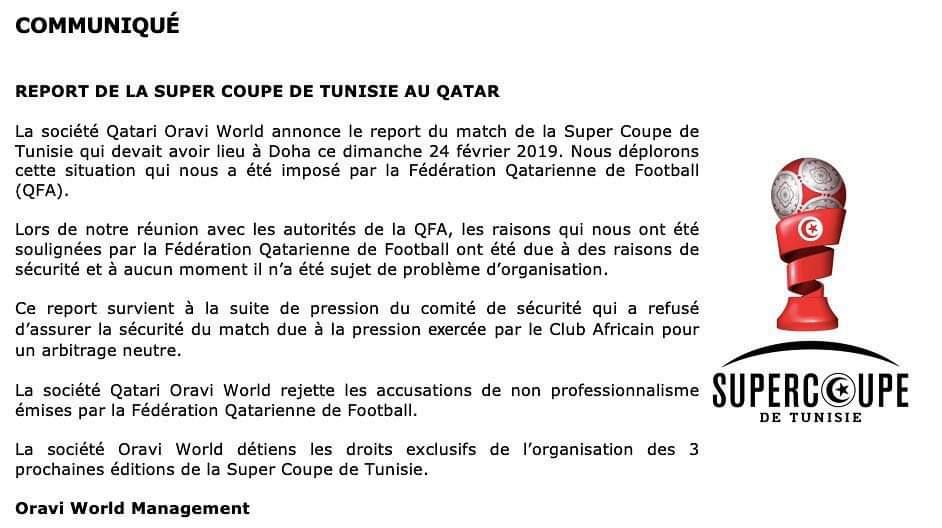 Report De La Super Coupe La Societe D Organisation S Explique