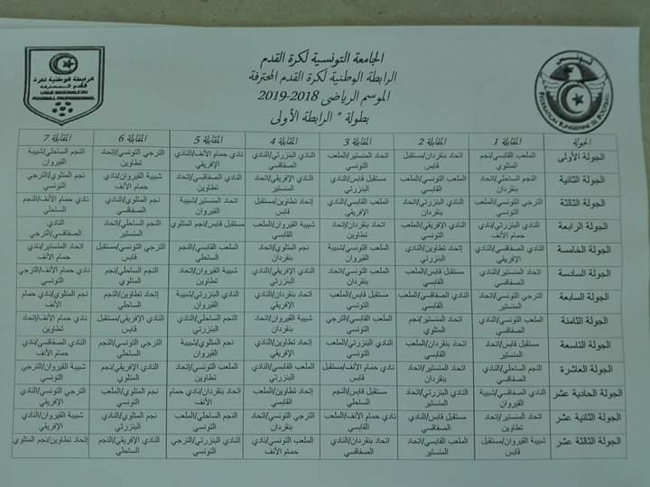 Calendrier Championnat Tunisien.Ligue 1 Le Calendrier De La Saison 2018 2019 Devoile
