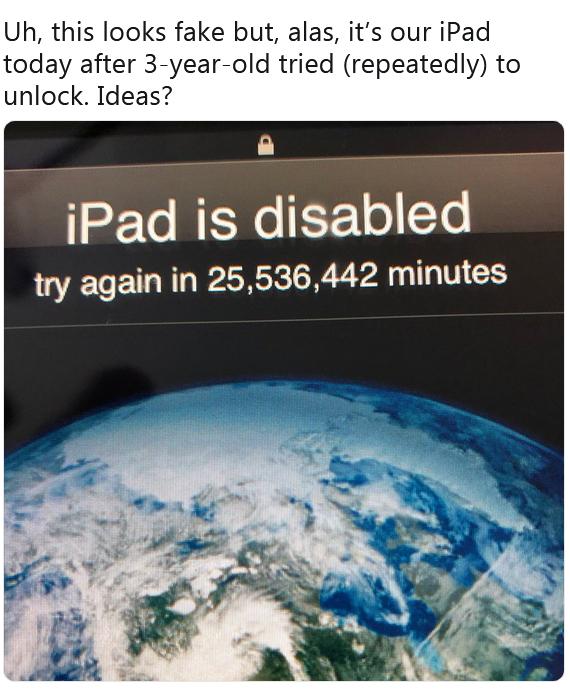 Un enfant de trois ans bloque un iPad… pour 48 ans