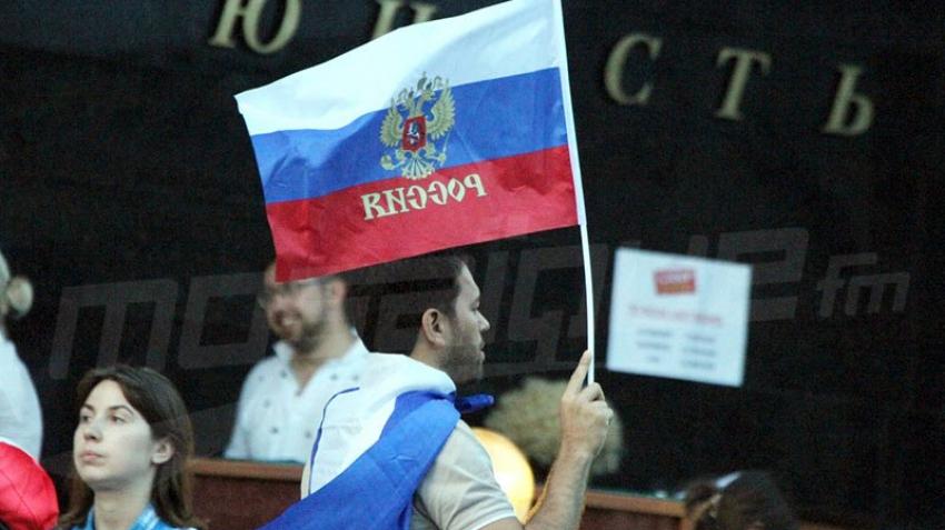 La joie du public russe après la qualification aux quarts de finale