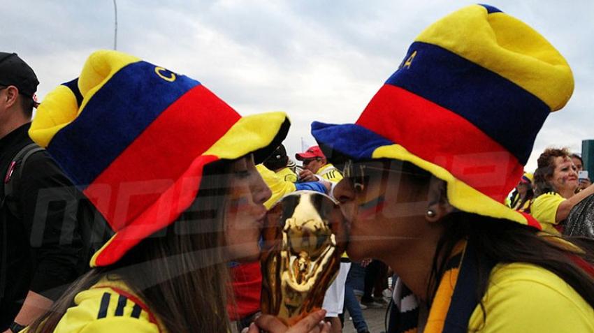 Les supporters Colombiens euphoriques avant le match contre l'Angleterre