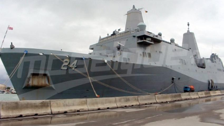 Le navire de guerre américain accoste au port de la Goulette