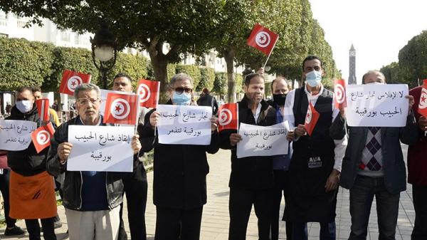 وقفة احتجاجية لتجار و عمال شارع الحبيب بورقيبة