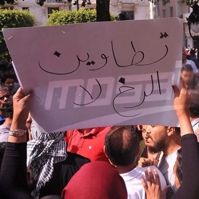 شارع الحبيب بورقيبة : وقفة تضامنية مع محتجي الكامور