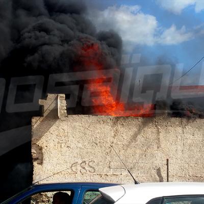 حريق بمحل لبيع البنزين بمركز كعنيش بصفاقس