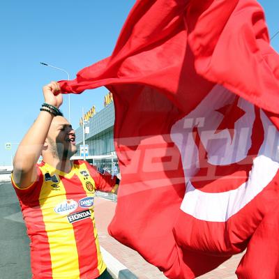 Les supporters tunisiens à l'aéroport de Volgograd