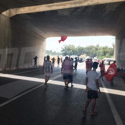 La route entre Enfidha et Bouficha bloquée par des manifestants
