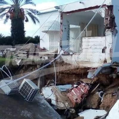 إنهيار كورنيش نابل بسبب الأمطار