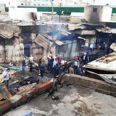 حريق في سوق ''الفريب'' بالحفصية