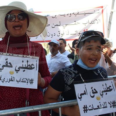 Les chômeurs protestent devant le parlement
