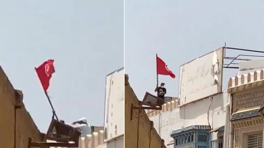 القيروان: أحد أنصار حركة النهضة يدفع محتجّا من فوق مقر الحركة