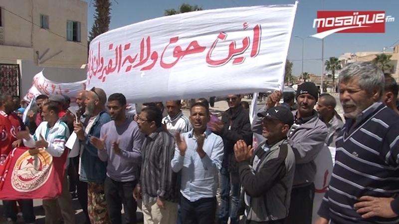 القيروان : مسيرة سلمية بحاجب العيون للمطالبة بالتنمية والتشغيل