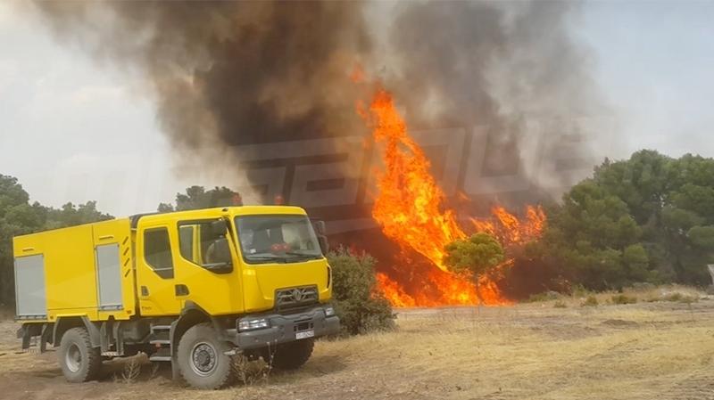الفحص: السيطرة بنسبة كبيرة على حريقين بجبلي أم الأبواب وفيض القمح