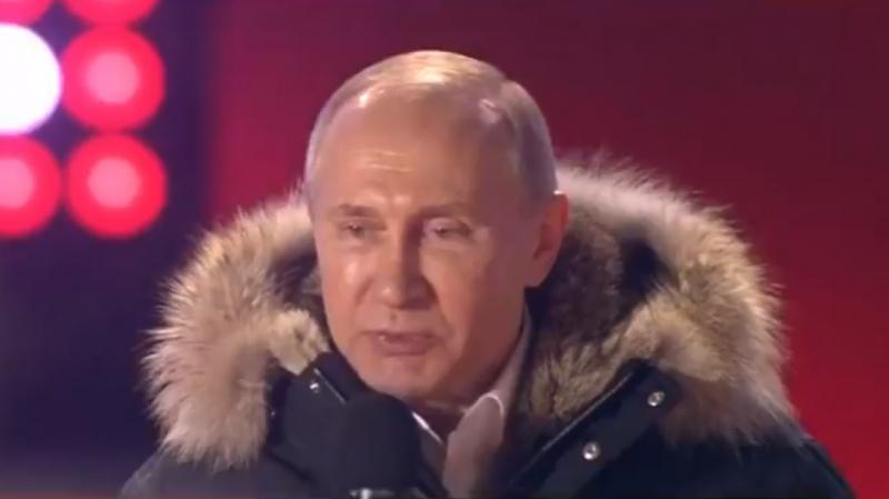 في خطاب أمام مئات من أنصاره: بوتين يشكر ناخبيه على اعادة انتخابه