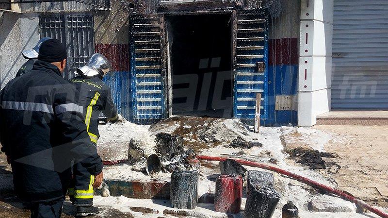 صفاقس : حريق بمحل لبيع بنزين