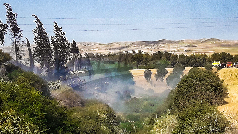 حريق هائل بوادي مصوج بسليانة