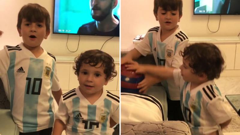 ابنا ميسي يشجعان المنتخب الأرجنتيني على طريقتهما