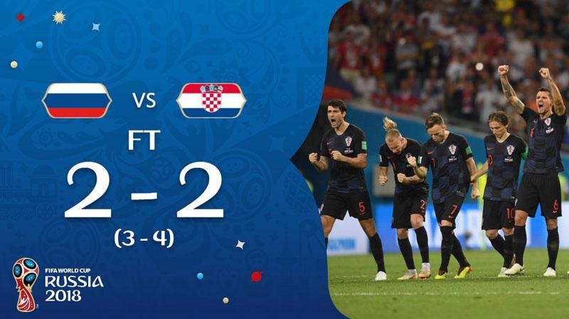 مونديال 2018 : كرواتيا تُقصي أصحاب الأرض وتمر إلى نصف النهائي