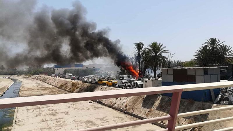 سوسة: السيطرة على حريق هائل بمستودع لقطع غيار السيارات
