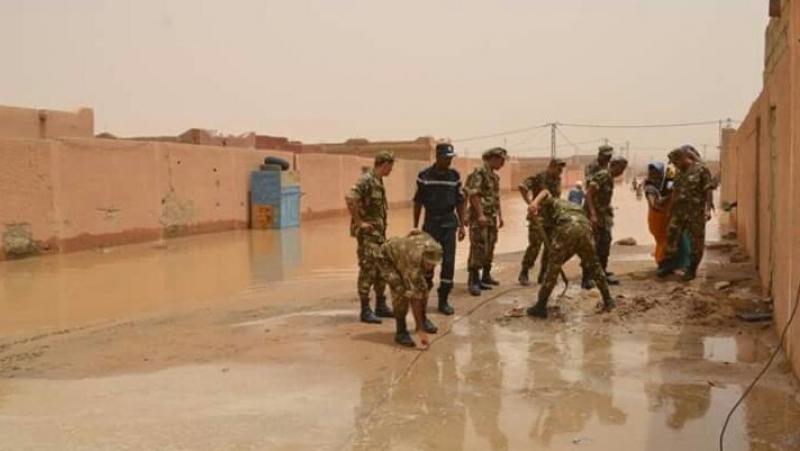 أمطار طوفانية في الصحراء الجزائرية والجيش يتدخل