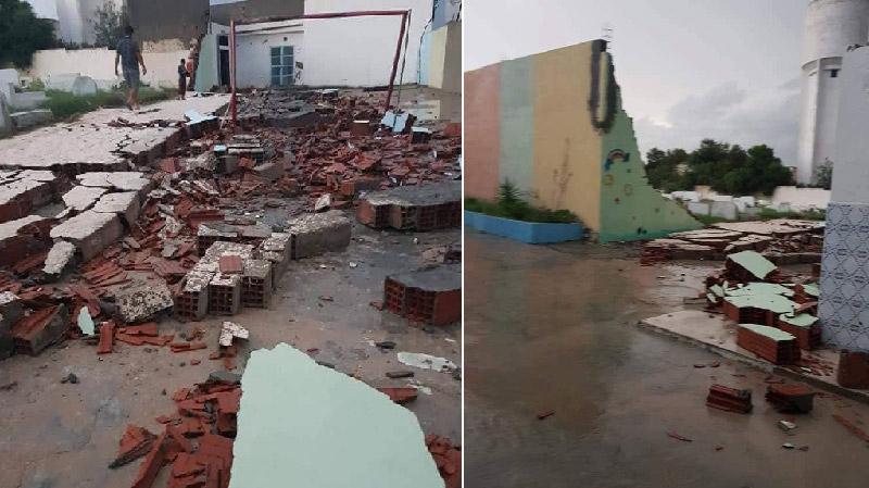 إنهيار جدار مدرسة ابتدائية بالقلعة الكبرى بسبب الأمطار