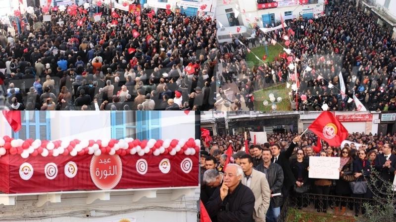 تجمّع عمالي في ساحة محمد علي بالعاصمةفي ذكرى الثورة