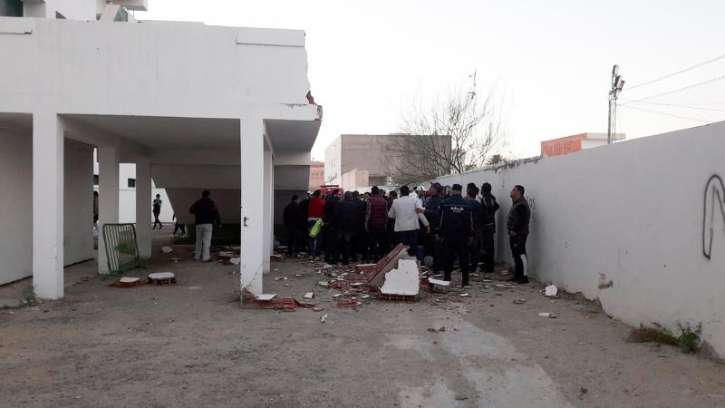 إصابات اثر انهيار جدار في قاعة رياضية  بالقيروان