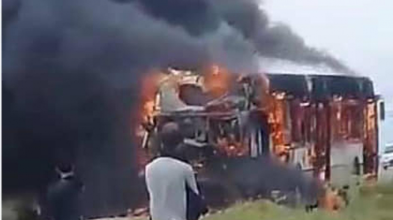 السبيخة: احتراق حافلة تنقل عمال مصنع