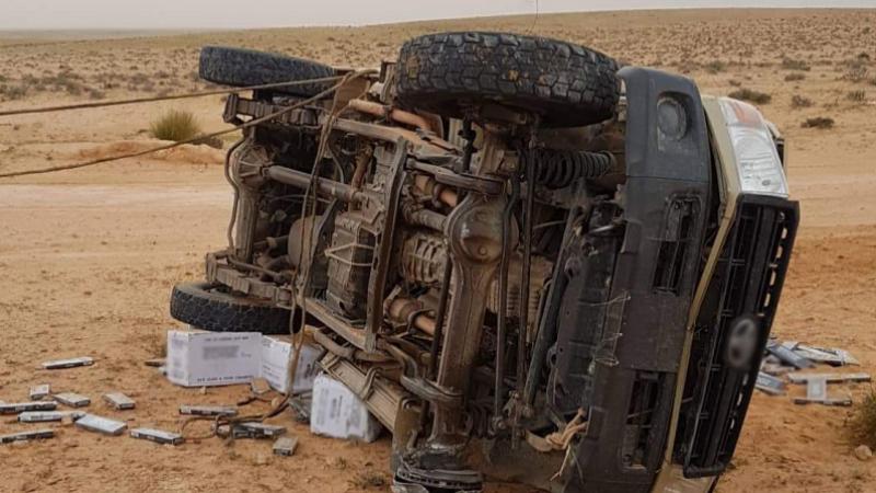 سيدي بوزيد : إصابة عوني ديوانة في انقلاب سيارة تهريب