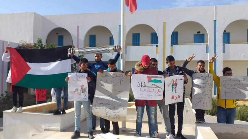 تطاوين : وقفة تضامنية مع أهالي غزة