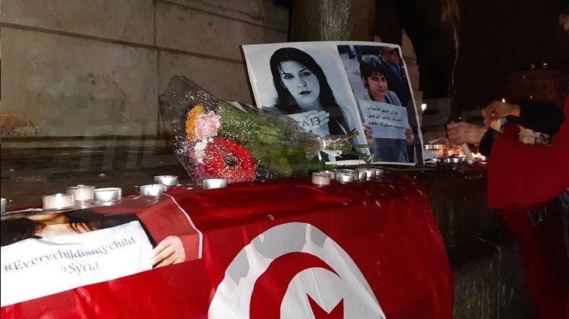 الشموع تضيء باريس إهداء لروح لينا بن مهني