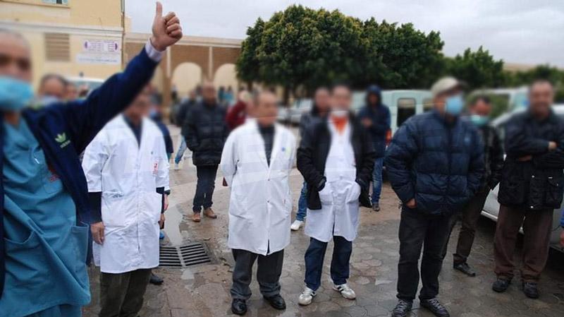 قفصة: الوحدات الأمنية في وقفة مساندة للإطار الطبي وشبه الطبي