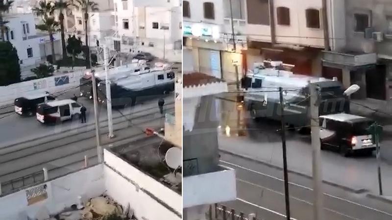 حملة تعقيم باعتماد مدرعات رش المياه في الدندان