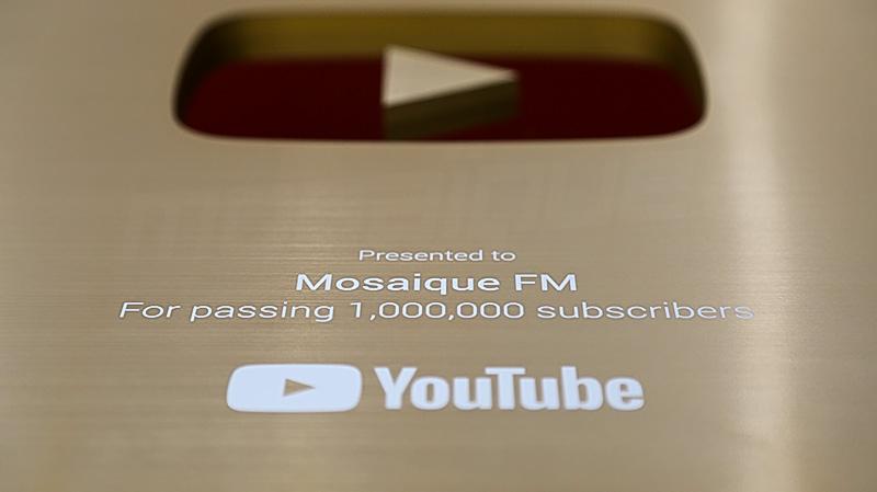 موزاييك تتحصّل على رمز 'يوتيوب' الذهبي