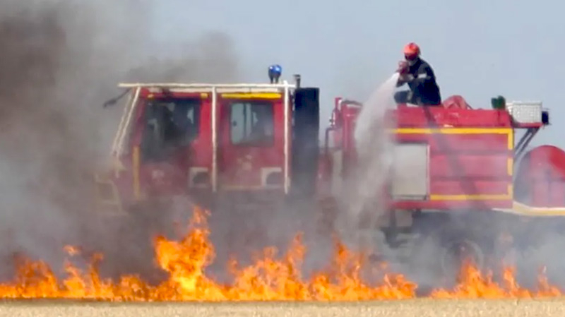 حريق في ضيعة حبوب تابعة لشركة الإحياء