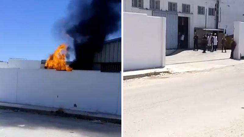 قصر هلال: حريق في ساحة مصنع الكابل