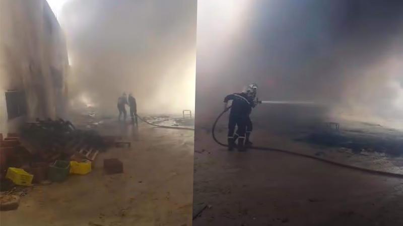 توزر: حريق في ساحة معمل التمور