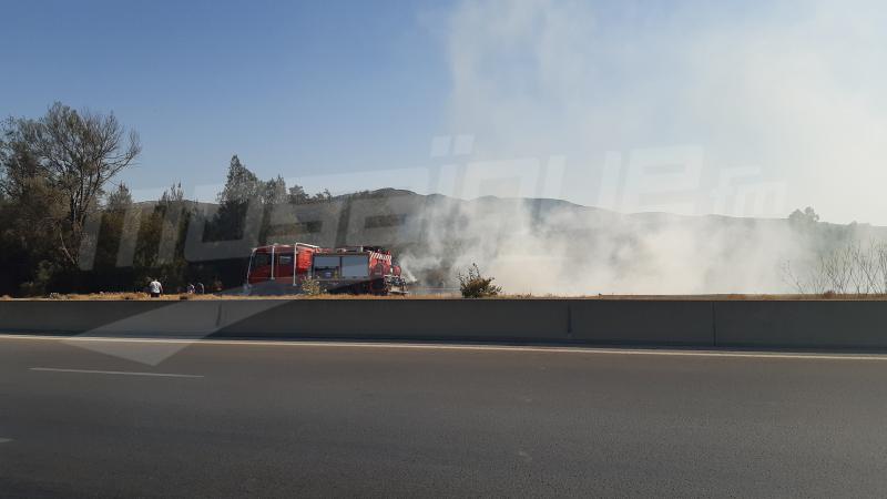 إندلاع حريق بالطريق السيارة الحمامات تونس وإشتعال سيارة