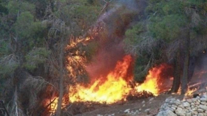 حريق بالمنطقة العسكرية في جبل مغيلة