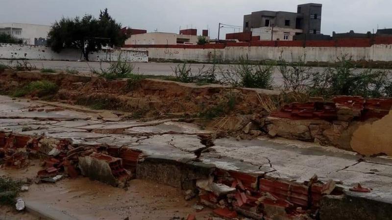 سوسة: إنهيار سور مدرسة اعدادية جراء تهاطل الأمطار