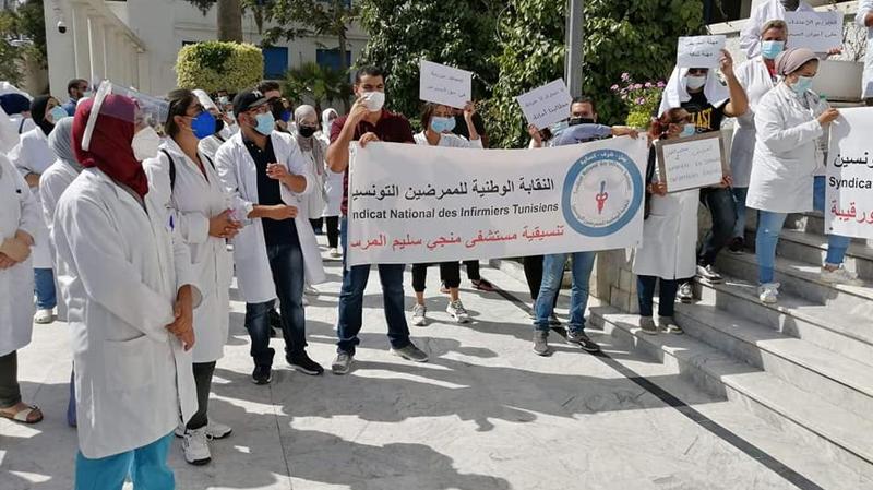 ممرّضون يغلقون ساحة باب سعدون
