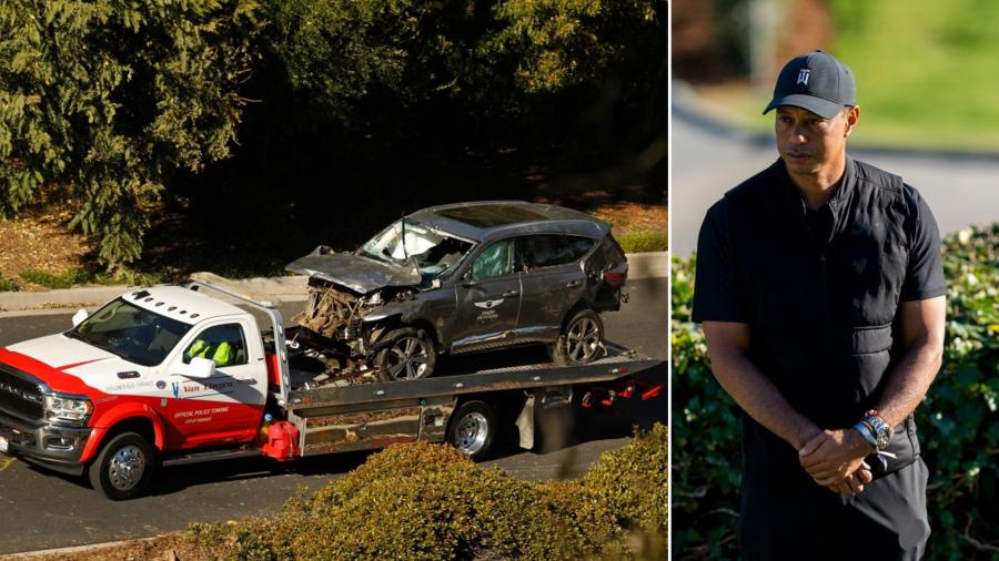 تايغر وودز يتعرّض لإصابة خطيرة في حادث مرور