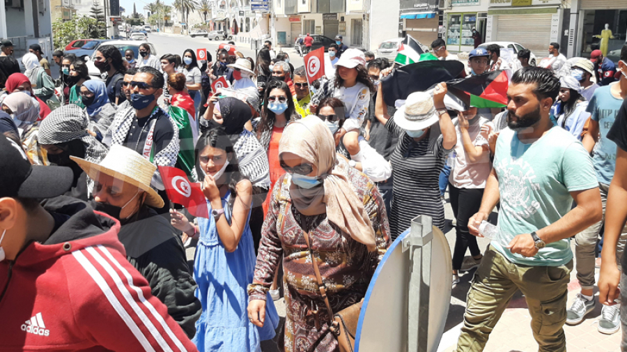 مسيرة مساندة للشعب الفلسطيني في جربة