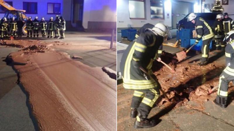 Allemagne: Une tonne de chocolat se déverse dans une rue