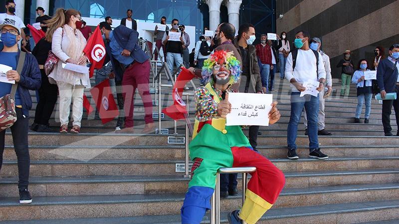 Des artistes en sit-in