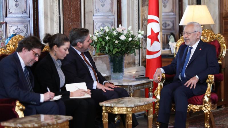 Ghanouchi et l'ambassadeur de la Belgique à Tunis
