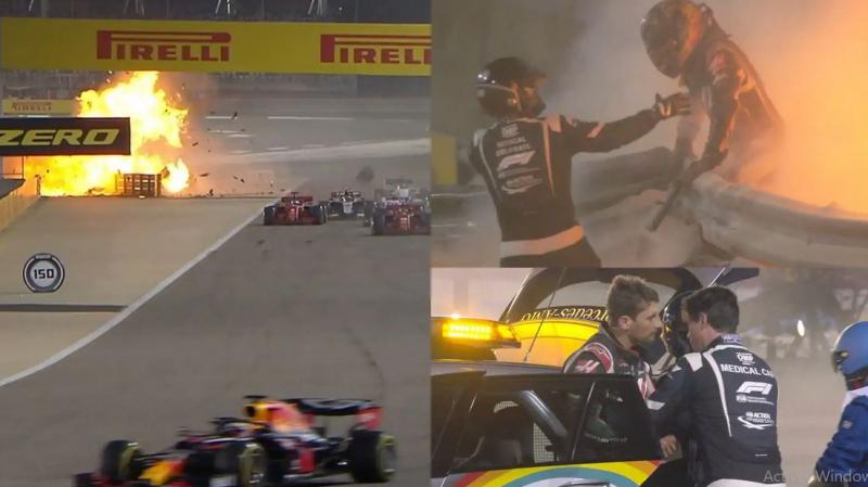 Grand prix Formule 1 du Bahrein: Le Français Grosjean miraculé