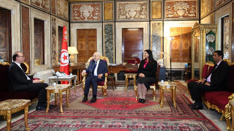 Rached Ghannouchi reçoit le chef du gouvernement Elyes Fakhfekh