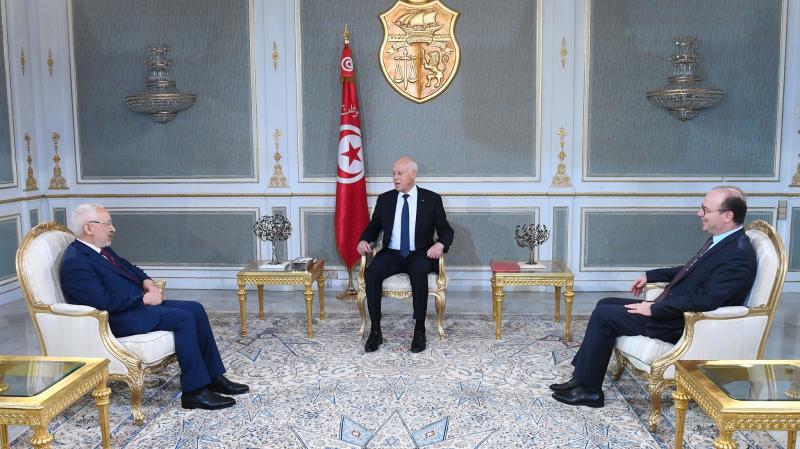 Saied s'entretient avec Rached Ghannouchi et Elyes Fakhfakh