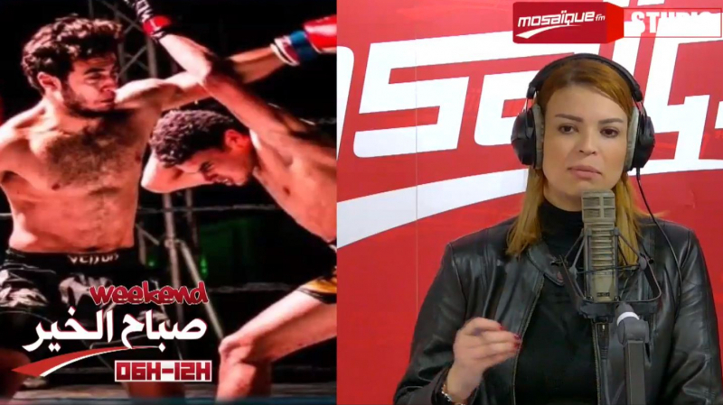 Un champion de Kick boxing dessine le drapeau tunisien et le brandit
